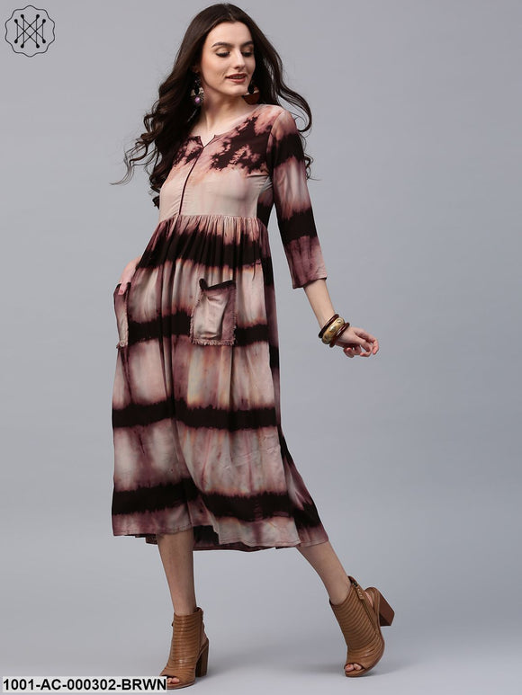 Brown Tie & Dye Printed Dress With Front Pocket Details