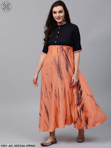 Orange & Blue Tie And Dye Maxi