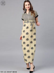 Beige & Black Bagri Printed Straight Maxi With Belt Details