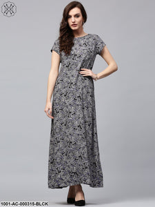 Black Discharge Print Reversible Maxi
