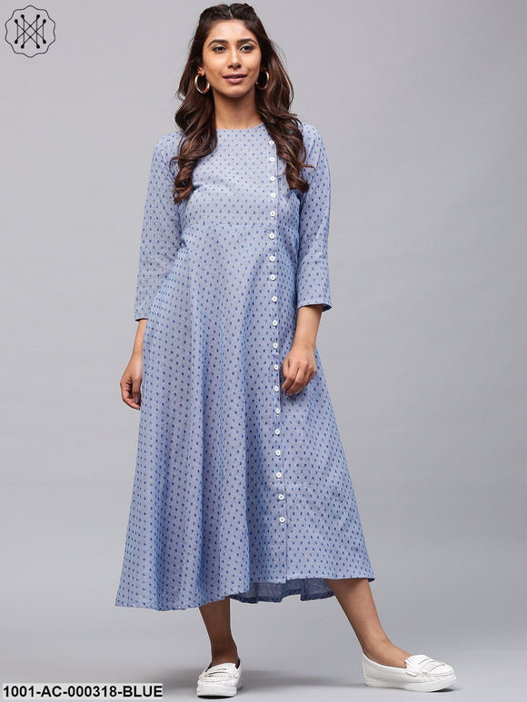 Blue Printed Button Down A-Line Dress