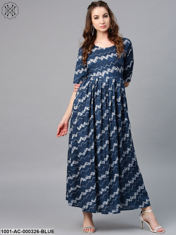 Blue & White Printed Pleated Maxi