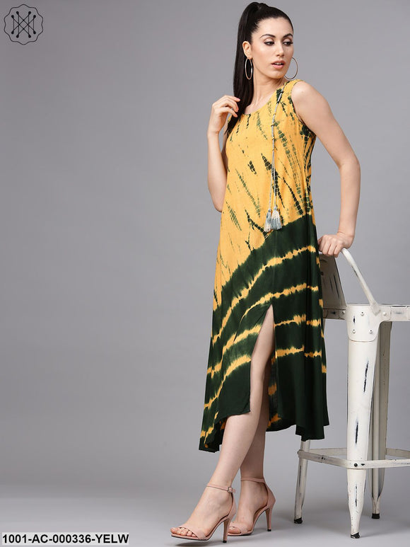 Yellow & Green Tie & Dye Sleeveless A-Line Dress