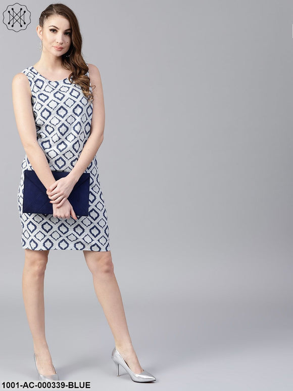 Blue & White Printed Kantha Work Shift Dress