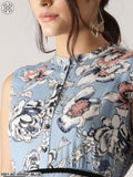 Blue Floral Printed Sleeveless Maxi With Black Belt