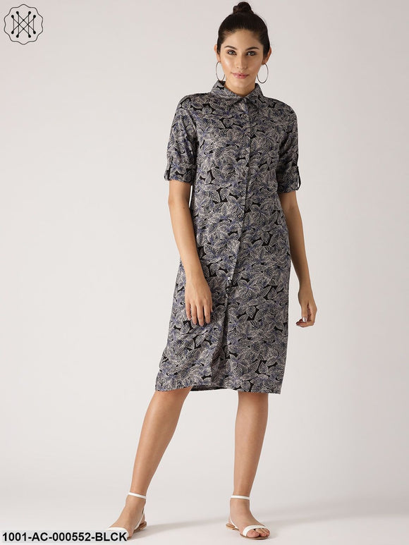 Black & Blue Discharge Printed Button Down Dress