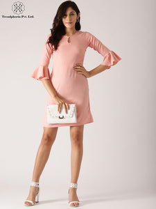 Peach Solid Shift Dress With Ruffle Sleeve