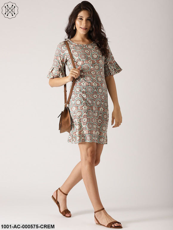 Cream & Brown Printed Shift Dress With Ruffle Sleeve