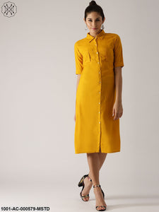 Mustard Solid Button Down Dress