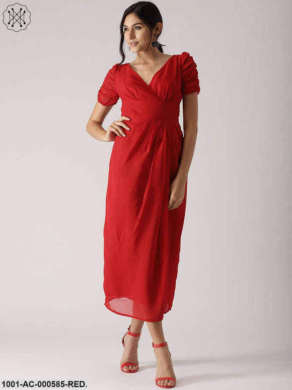 Red Solid Pleated Maxi Dress