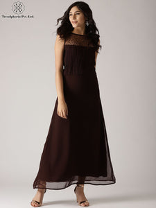 Brown Solid Maxi With Lace Yoke Details