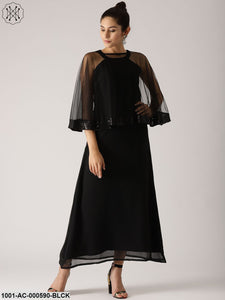 Black Solid Flared Dress With Embellished Cape