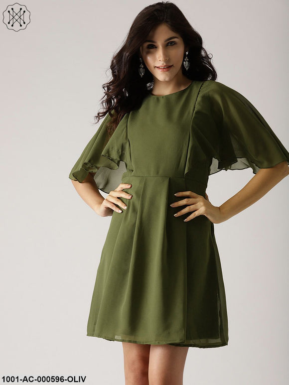 Olive Solid Skater Dress With Flared Sleeve