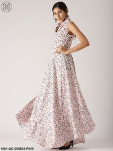 Light Pink Floral Printed Flared Maxi With Lapel Collar