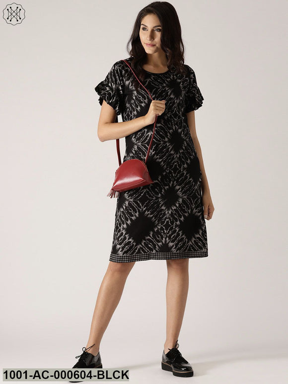 Black & White Printed Shift Dress With Ruffle Sleeve