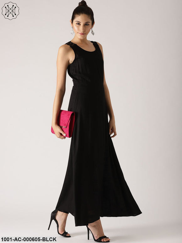Black Solid Flared Maxi Dress With Lace Details