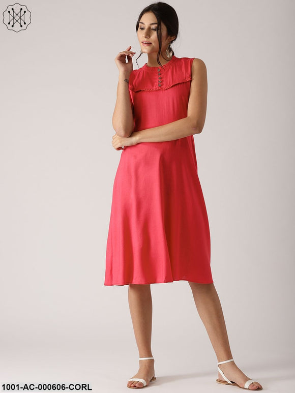 Coral Solid Sleeveless Skater Dress With Frill Yoke Design
