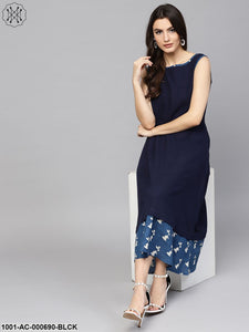 Blue Dabu Solid Sleeveless A-Line Dress With Printed Hemline