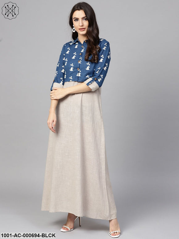 Beige Solid Long Dress With Blue Dabu Print Jacket