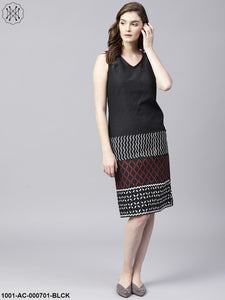 Black & Red Kantha Work Sleeveless Dress