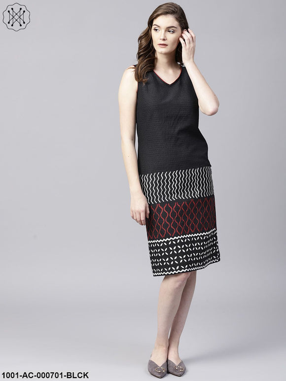 Black & Red Kantha Work Sleevless Dress