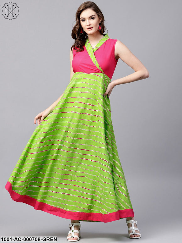 Green & Pink Leheriya Printed Sleeveless Maxi