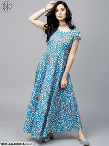 Blue & White Floral Printed Maxi With Pom-Pom Details