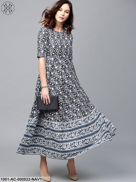 Navy Blue & White Floral Printed Maxi