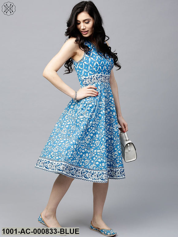 Blue & White Printed Pleated Skater Dress