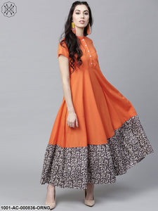 Orange Solid Flared Maxi With Printed Hemline