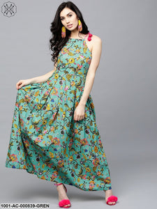 Green & Yellow Printed Box Pleated Dress