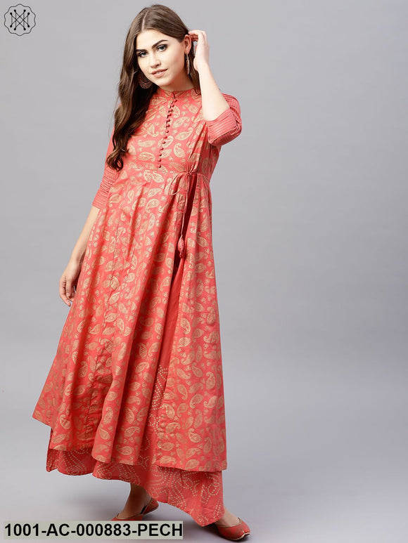 Peach Gold Printed Double Layered Maxi
