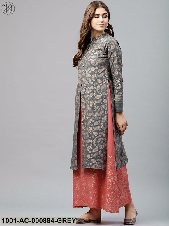 Grey & Peach Gold Printed Double Layered Maxi