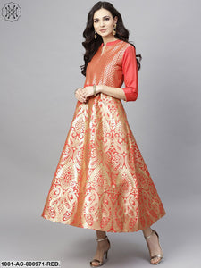 Red Gold Brocade Design Flared Maxi
