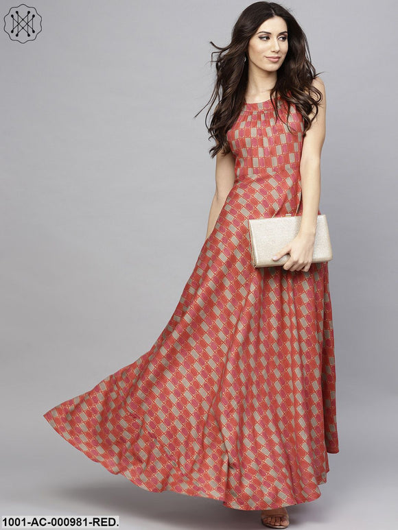 Red & Beige Printed Sleeveless Flared Maxi