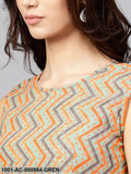 Green & Orange Striped Printed Shift Dress
