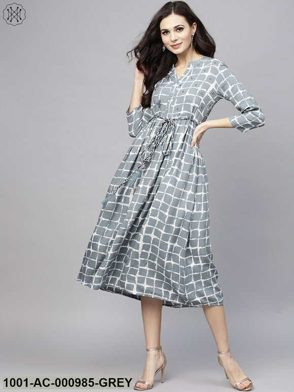 Grey & White Checked Printed Dress With Embroidered Yoke