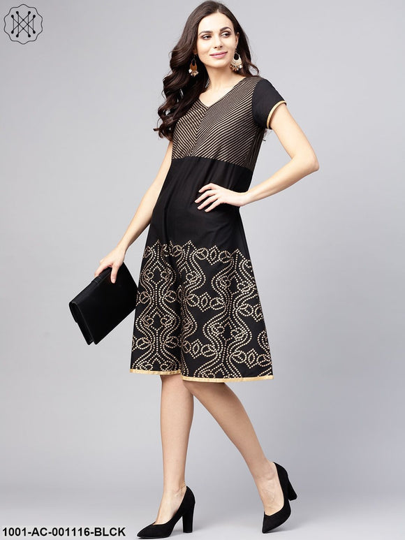 Black Gold Printed A-Line Dress