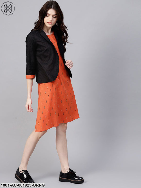 Orange & Black Printed Dress With Black Solid Jacket