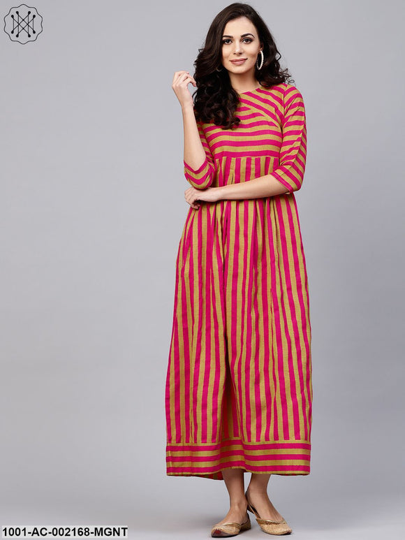 Magenta & Gold Woven Design Box Pleated Maxi