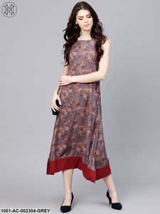 Grey & Maroon Floral Printed A-Line Dress