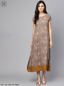 Grey & Mustard Printed A-Line Maxi With Pocket Details