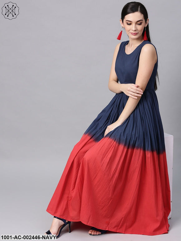 Blue & Red Tie & Dye Printed Flared Maxi