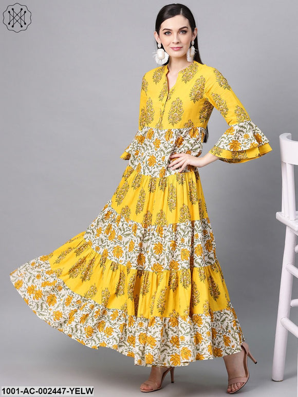 Yellow & White Floral Printed Tiered Maxi