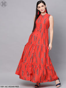 Red Floral Printed Button Down Tiered Maxi