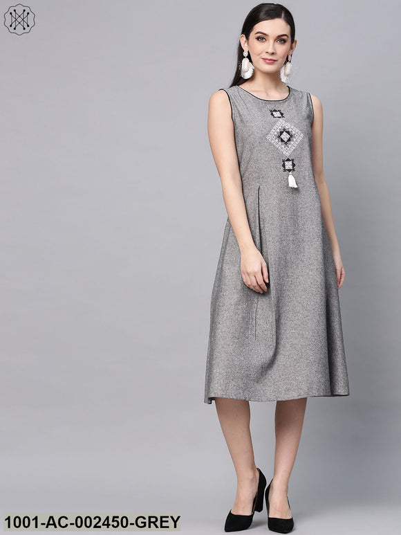 Grey Chambray Embroidered A-Line Dress