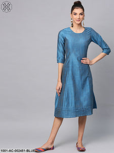 Blue Solid A-Line Dress With Pleated Work