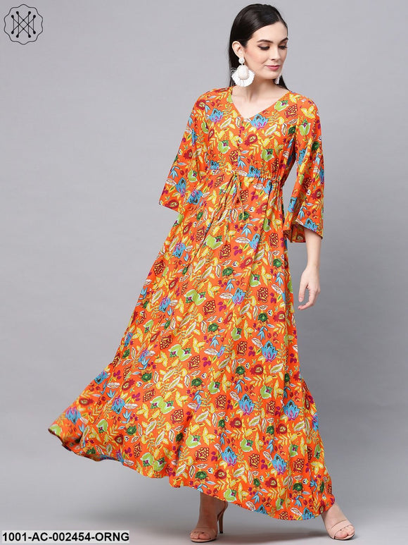 Orange Floral Printed Maxi With Flared Sleeve