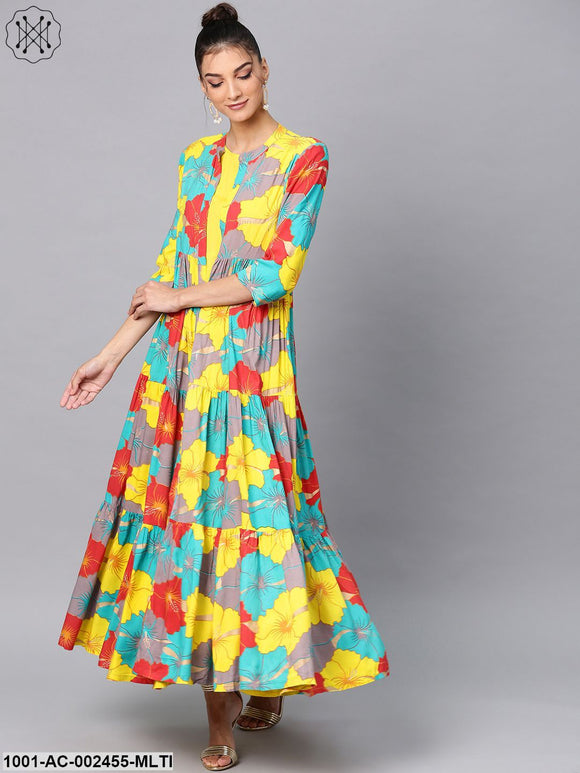 Multicolored Big Floral Printed Tiered Double Layered Maxi