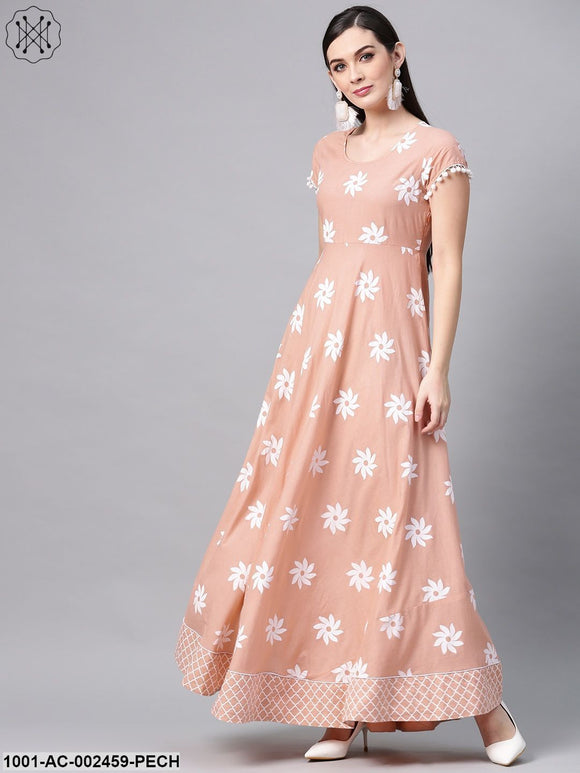 Peach & White Floral Printed Maxi With Pom-Pom Lace At Sleeve